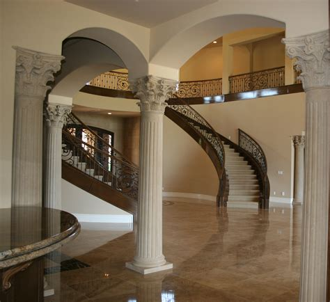 columns for homes luxurious european interior house decors with moulding round fluted interior columns added