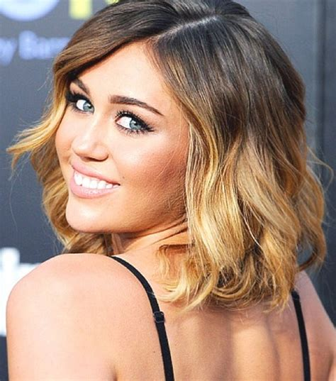 medium ombre haircuts miley cyrus hairstyles ombre medium waves pretty designs