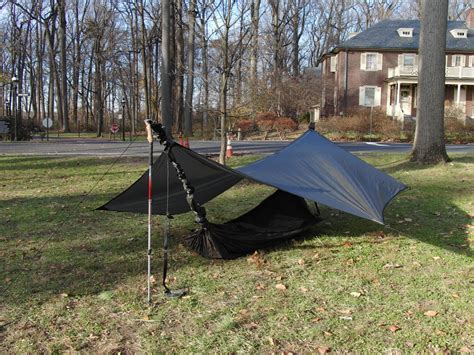 setting up a hennessy hammock as a tent