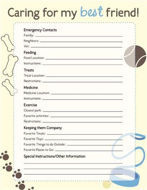 pet sitter info sheet printable pet info sheet pet sitter