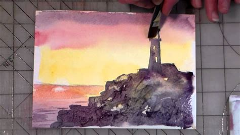 watercolor lighthouse tutorial beginner watercolor lighthouse tutorial youtube