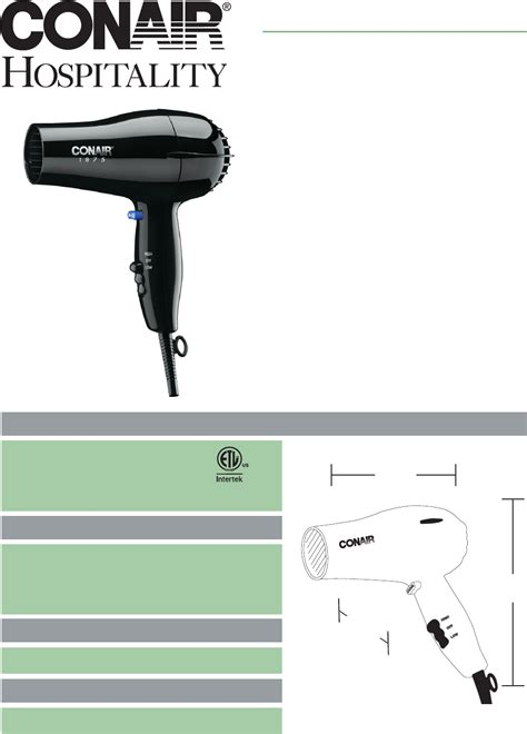 Conair Hair Dryer Manual conair hair dryer 185 user guide manualsonline