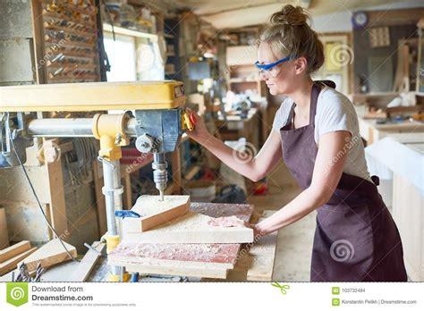 female carpenter  workshop stock photo image