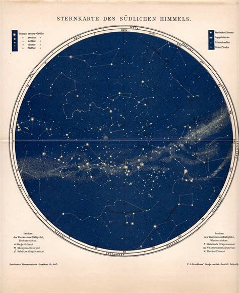 printable star map by date 1903 star map of the southern skies original antique celestial