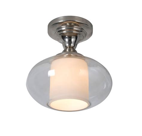 hton bay 1 light chrome dumant glass semi flush mount
