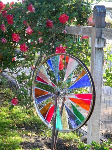 spinning garden make a stained glass garden spinner flea market gardening
