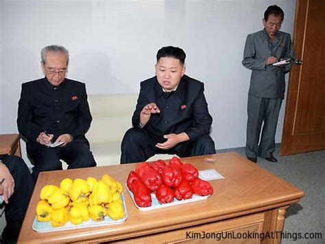 jong food looking at peppers jong un looking at things