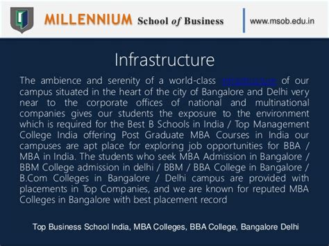 Bba Mba Integrated Course In Bangalore by Millennium School Of Business Msob Top Business