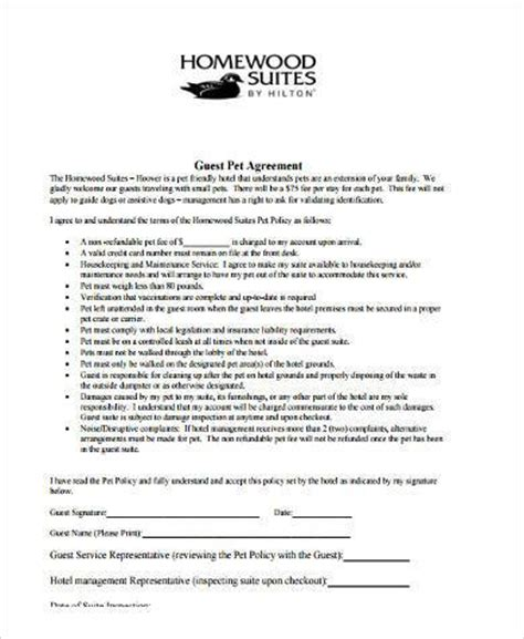 hotel contract template sle pet agreement forms 9 free documents in pdf