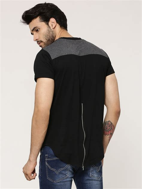 Tshirt Berak Black C M065 buy t shirt with back zip for s