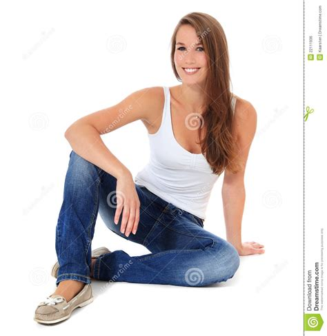 attractive sitting on floor royalty free stock