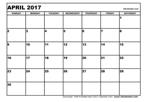 printable calendar 2017 blank blank april 2017 calendar in printable format