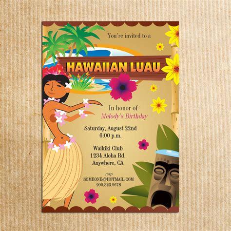 Hawaiian Invitation Card Template by Hawaiian Luau Invitation Stationery By