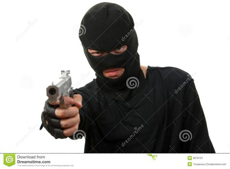 A White With A Criminal Record Is More Likely To Get A Criminal In Black Mask Stock Image Image 9576731