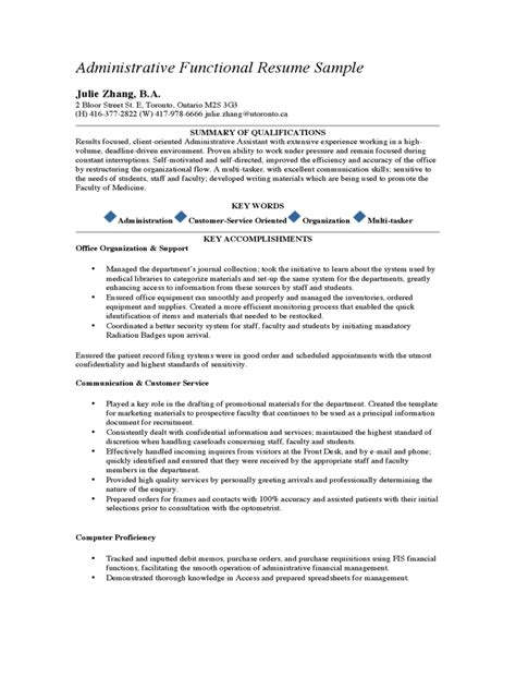 Resume Sle Of Administrative Assistant by Administrative Assistant Resume Template 2 Free Templates In Pdf Word Excel
