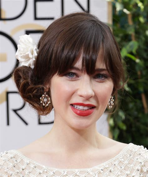 zooey deschanel updo hairstyles zooey deschanel long curly formal updo hairstyle with
