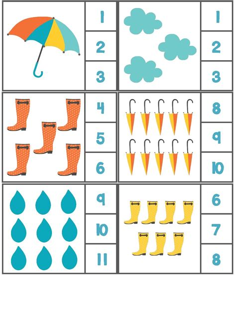 rain themed counting activity with clothespin 3
