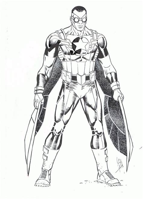 Avengers Coloring Pages Falcon | free falcon marvel coloring pages