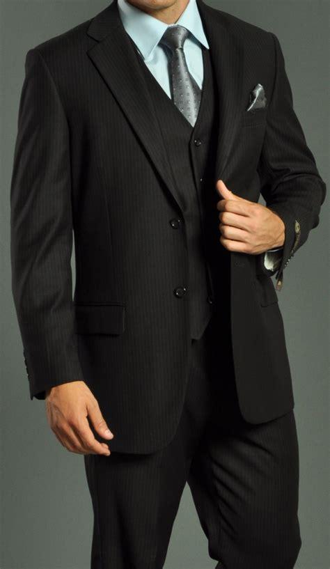 black suit s two button vested shadow stripe black suit men s