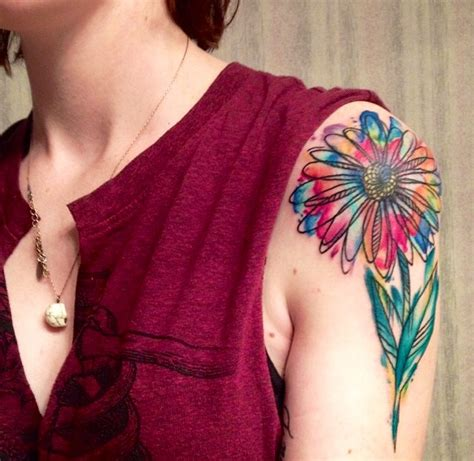 watercolor daisy tattoo pin small bird tattoos for on