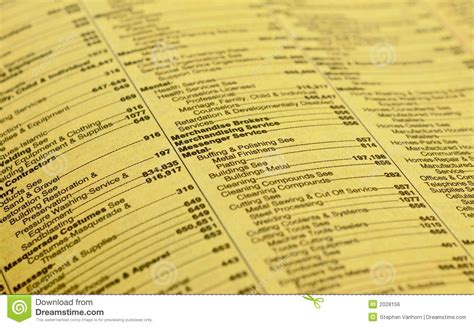 Business Phone Lookup Yellow Pages Yellow Pages Royalty Free Stock Image Image 2028156