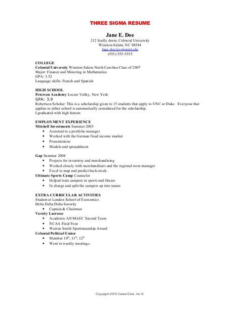 how to create a six sigma resume undergraduates