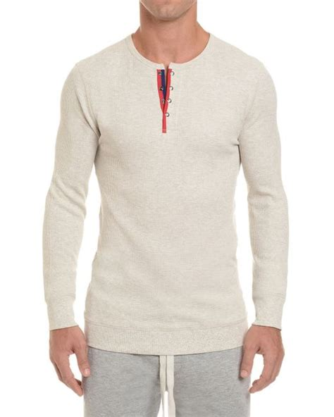 waffle knit shirt 2xist waffle knit henley shirt in beige for lyst
