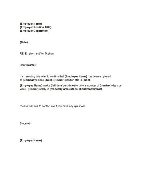 Proof Of Employment Letter For 40 Proof Of Employment Letters Verification Forms Sles