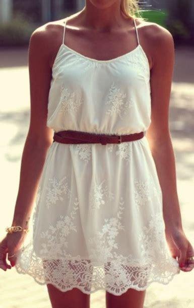 dress summer dress floral dress lace dress brown belt