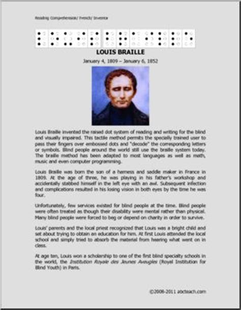 biography for middle school students biography louis braille middle school high school