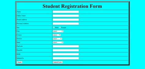 create a student registration form using table in html