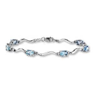 Monogram Initial Bracelet Kay Aquamarine Bracelet Diamond Accents 10k White Gold