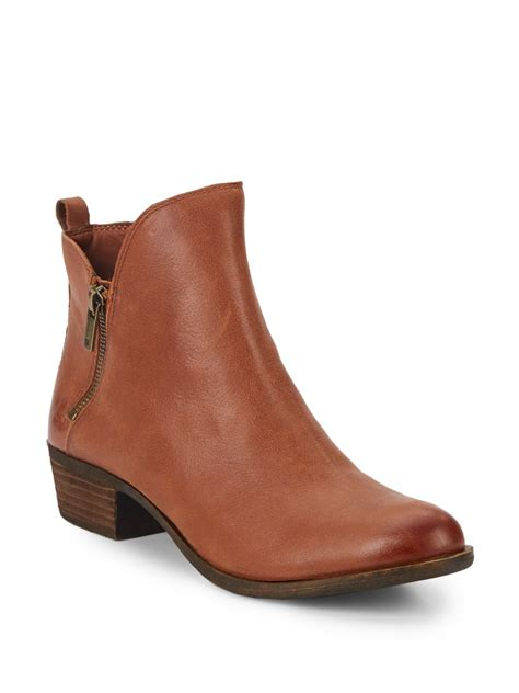 brand boots for lucky brand basonta leather ankle boots in brown lyst