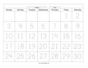 Blank 30 Day Calendar Template by Printable Handwriting Calendar 30 Day Friday