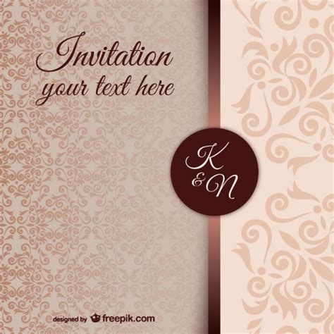 vintage invitation template with damask pattern vector