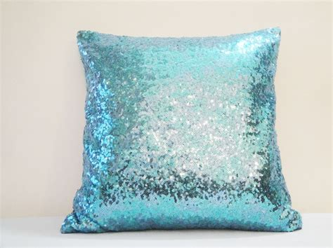 Glittery Pillows by Shiny Turquoise Blue Pillow Cover Decor