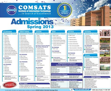 Comsats Mba by Comsats Admission 2013 Islamabad Lahore Ciit