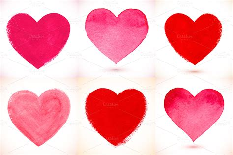 36 watercolor painted vector hearts ~ Textures on Creative
