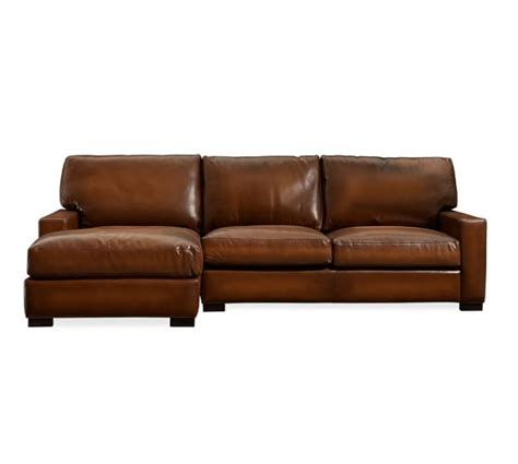 Leather Sofa Chaise Turner Square Arm Leather Sofa With Chaise Sectional Pottery Barn