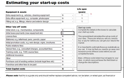 business costing template business start up costs calculator for excel excel templates