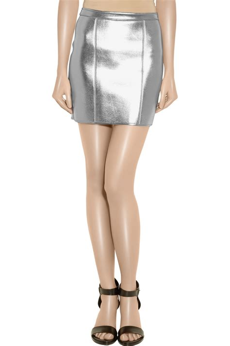 sass bide the turn metallic neoprene mini skirt in