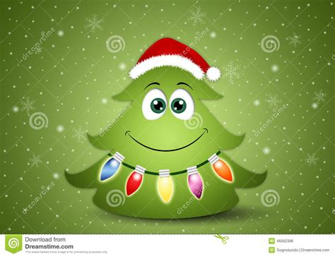 funny christmas tree with decorations stock illustration