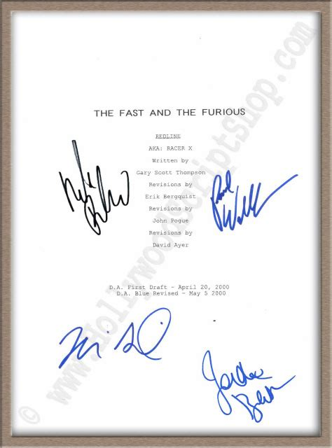 fast and furious dialogues signed scripts autographed scripts for sale at the