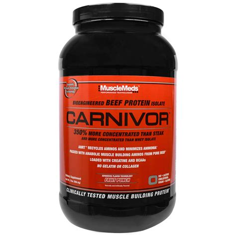 Protein Carnivor musclemeds carnivor bioengineered beef protein isolate fruit punch 2 lbs 904 4 g iherb