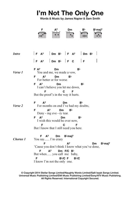 tutorial guitar i m not the only one i m not the only one sheet music by sam smith lyrics