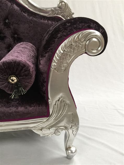 purple crushed velvet chaise charles louis cuddler seat chaise sofa in silver leaf
