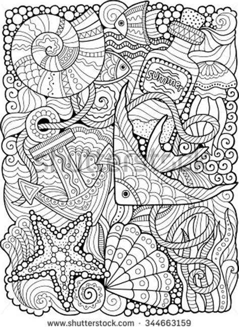 Sea Colouring Book vector coloring book for summers sea stencils