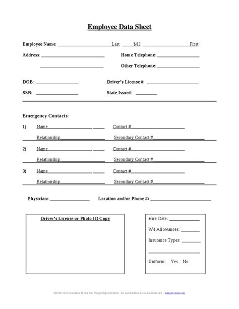 employee sheet template employee information sheet images