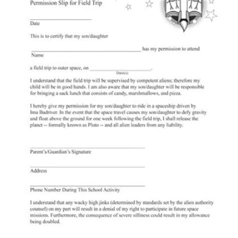 template field trip letter template permission slip form to release