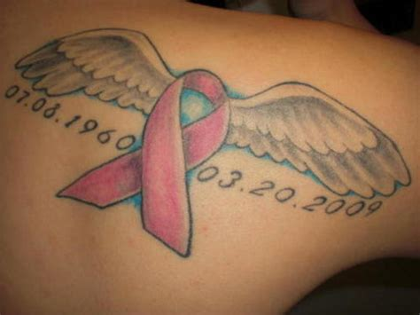 wing tattoo under breast cancer ribbon tattoos